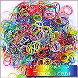 Kirinstores (TM) 6000 PCS 240 Clips Bands Refills for Loom Rainbow Bracelet Dress Making - Mixed A Translucent