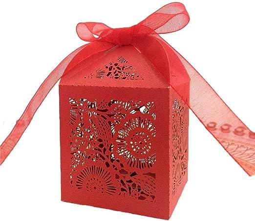 Seasaleshop - Cajas para Caramelos, Bombones, Bombones, Regalos y Joyas, Caja de Regalo para Bodas, bautizos, cumpleaños, 50 Unidades: Amazon.es: Hogar
