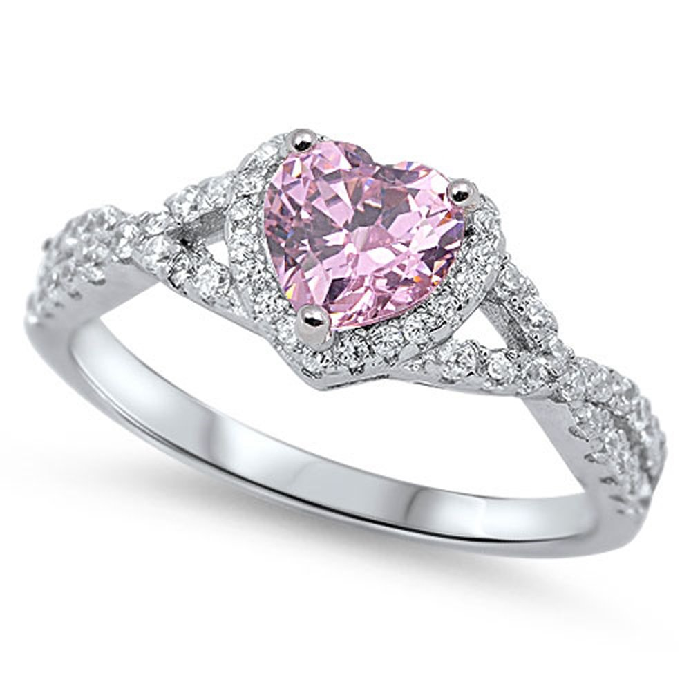 Oxford Diamond Co Sterling Silver Heart Halo Simulated Gemstone Promise Ring All Colors Available (Pink (Cubic-Zirconia) - Size 4)
