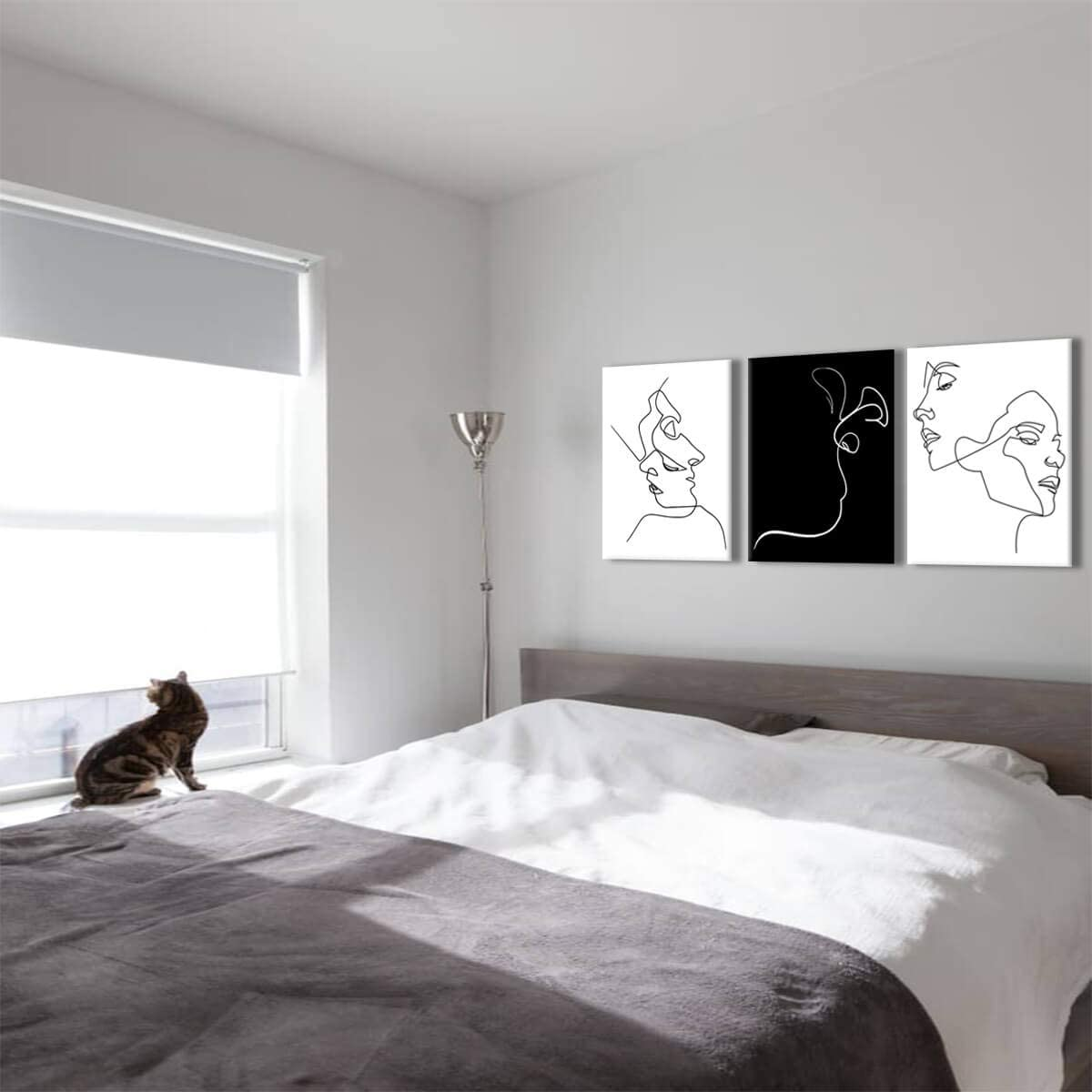 Amazon Com Black And White Wall Art Line Drawing Modern Minimalist Wall Decor For Couples Bedroom Lovers Abstract Art Wall Prints Aesthetic Room Decor Stretched Artwork For Home Walls Canvas Wall Art For
