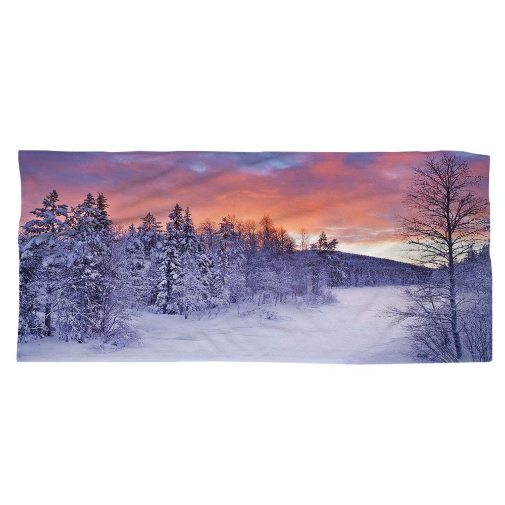 Large Cotton Microfiber Beach Towel,Winter,Frozen River in a Wintry Landscape Finnish Lapland at Sunrise Arctic Nordic Countries Decorative,for Kids, Teens, and Adults