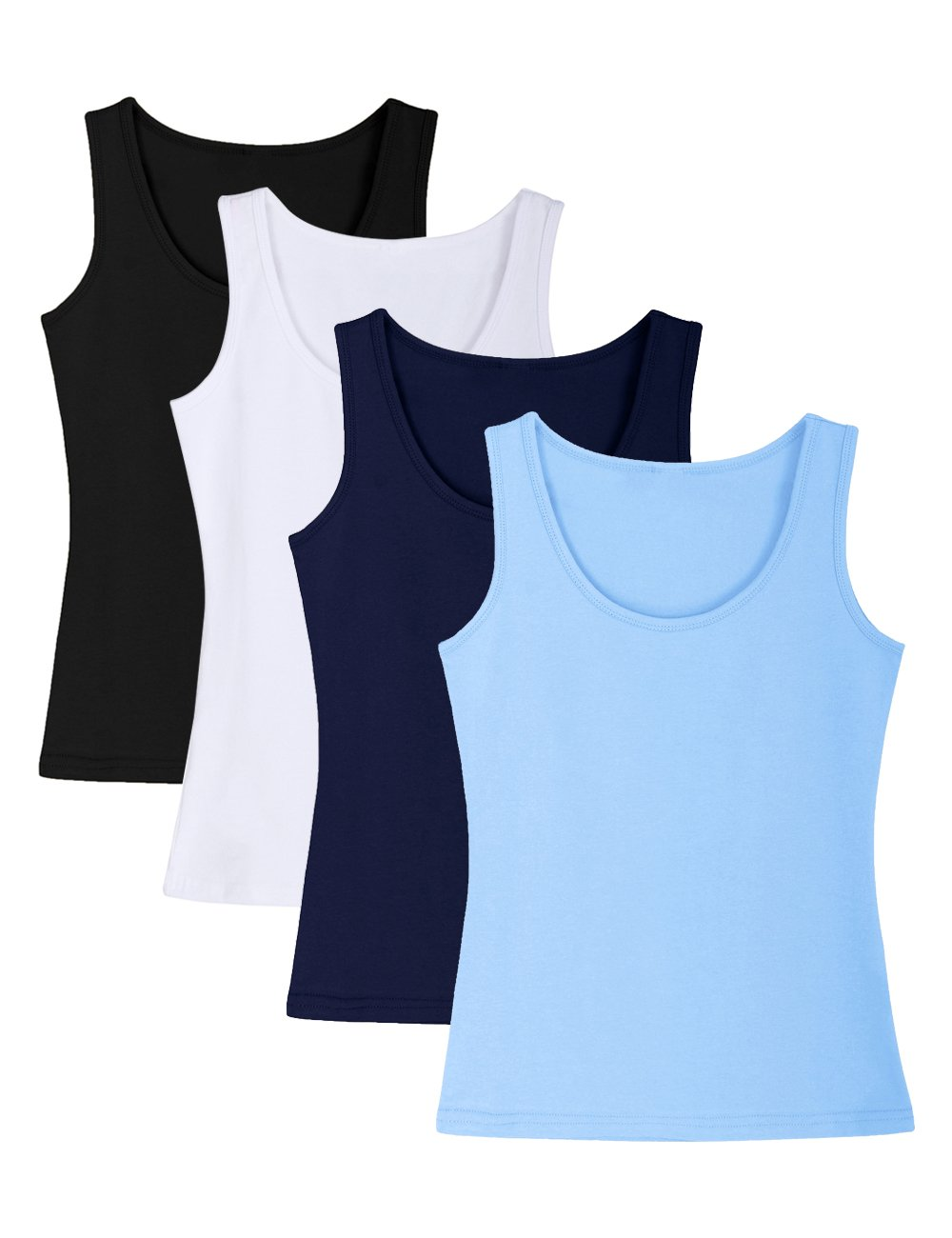 ADAMARIS Cotton Camisoles for Women Tank Tops for Women Pack Camis Vest ,Regular-833-black / White / Navy Blue / Light Blue,X-Small / US 2