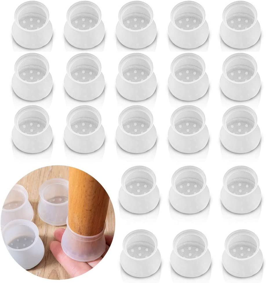 48PCS Furniture Silicon Protection Cover,Anti-Slip Table Feet Pad Floor Protector,Chair Pads for Round Furniture Table Feet,Foot Protection Bottom Cover Prevents Scratches and Noise