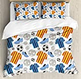 Soccer King Size Duvet Cover Set by Ambesonne, Sports Clothes Professional Player Athlete Shoes Hand Drawn Style League Match Game, Decorative 3 Piece Bedding Set with 2 Pillow Shams, Multicolor