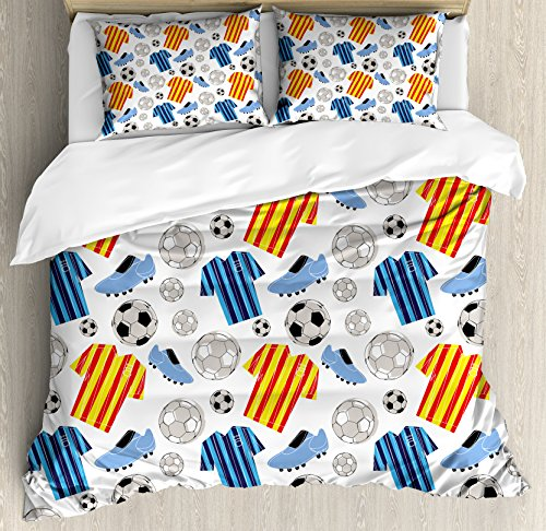Soccer King Size Duvet Cover Set by Ambesonne, Sports Clothes Professional Player Athlete Shoes Hand Drawn Style League Match Game, Decorative 3 Piece Bedding Set with 2 Pillow Shams, Multicolor by Ambesonne