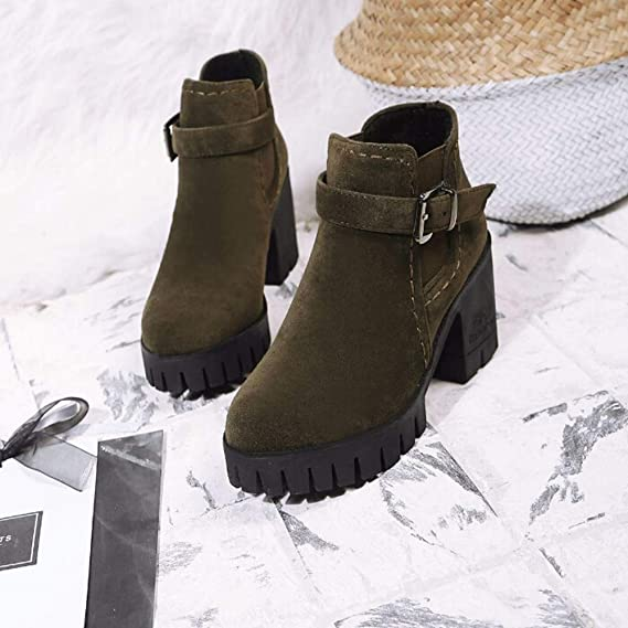 Amazon.com: Clearance!! Womens Buckle Strap Martin Boots,Casual Suede Square Mid Chunky Block High Heel Ankle Boot Round Toe Shoes: Clothing