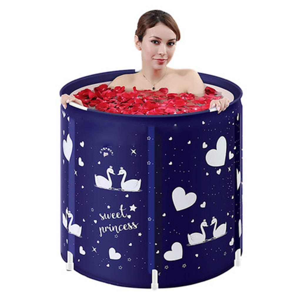 Folding bathtub Household Large Folding Tub Ladies Body Bath with Lid Plastic Adult Bath Barrel Children Folding Tub Bubble Bath Gift (Color : Blue, Size : 7065cm)