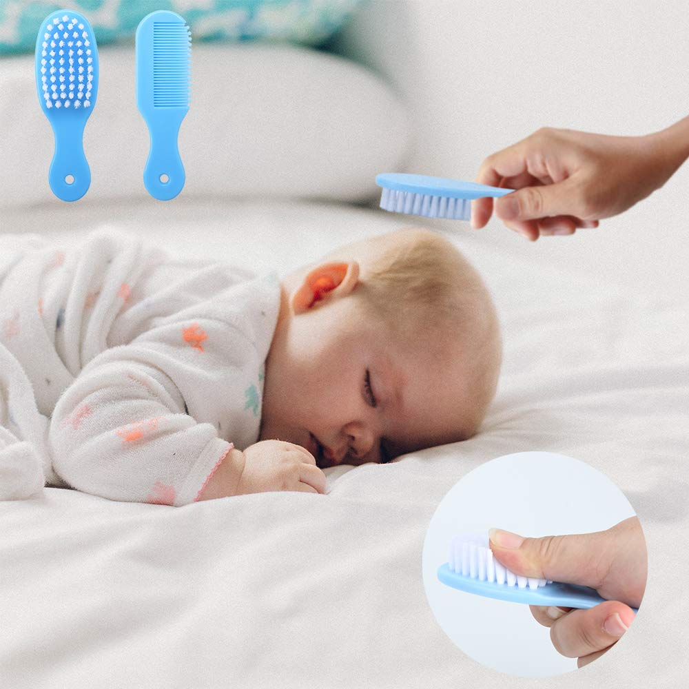 Alpacasso 20 Piece Baby Grooming Kit Infant Nursery Set Newborn Healthcare Kits Child Care Baby Nail Clipper File Scissor Tweezer Thermometer Brush Comb Cleaning Sets(Blue)