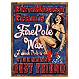 Framed, Outdoor Fire House Fran's Fire Pole Wax 18''x24'' Metal Sign, Firemen, Pinup, Humor, Man Cave, Hand-Crafted from reclaimed materials
