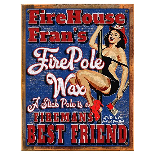 Framed, Outdoor Fire House Fran's Fire Pole Wax 18''x24'' Metal Sign, Firemen, Pinup, Humor, Man Cave, Hand-Crafted from reclaimed materials by Homebody Accents ®