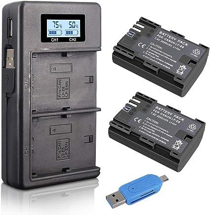 Palo LP-E6 LP-E6N (2-Pack 2000mAh) Batería de reemplazo y Cargador de batería Rapid