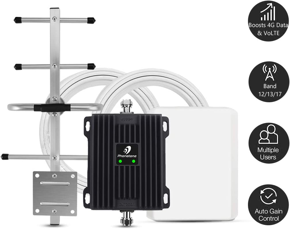 Phonetone Cell Phone Signal Booster for Home and Office Up to 5,000 Sq Ft | Boost 4G LTE Data for Verizon and AT&T | 65dB Dual Band 12/17/13 Cellular Repeater with High Gain Antennas | FCC Approved