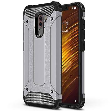 HUUH Funda Xiaomi Pocophone F1 Carcasa Caja de teléfono móvil, combinación TPU + PC, Hermosa Mano de Obra(Gris)