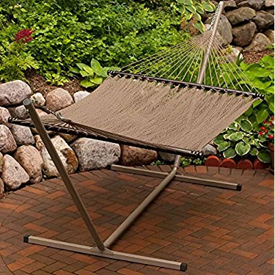 Algoma 4910 Two Point Tight Weave Caribbean Hammock - Two point caribbean hammock, 55-inch wide by 82-inch long, 13 feet overall length Hand turned spreader bars, oversize outdoor planted o-ring and hardware Fits model #4780 or #4792 stand - patio-furniture, patio, hammocks - 61D%2B3mhNxNL. SS400  -