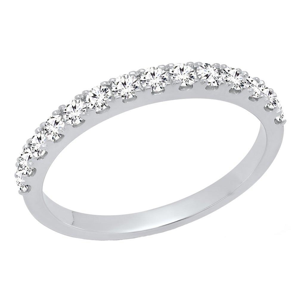 Dazzlingrock Collection 0.50 Carat (ctw) 10K Round Diamond Wedding Anniversary Stackable Band 1/2 CT, White Gold, Size 7 by Dazzlingrock Collection