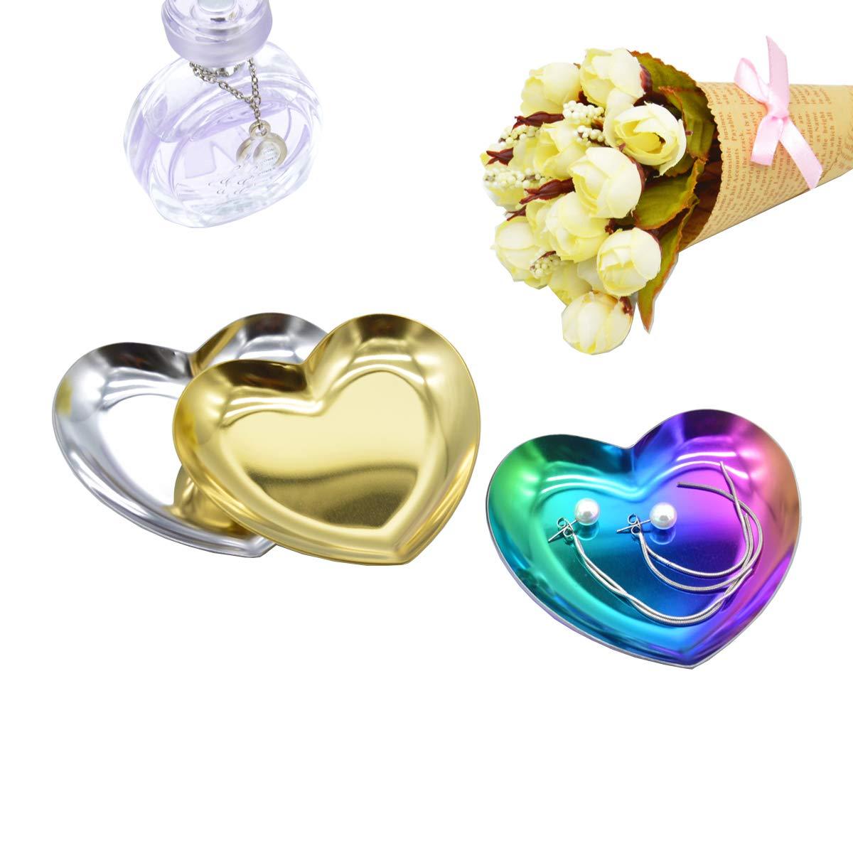 Antcher 2 Stück Herzförmige Metallablage Kosmetik Schmuck
