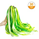 Hangnuo 30 Pack Wedding Wands Ribbon Streamers with Bell Fairy Stick Party Favor for Baby Shower Holiday Celebration, Green