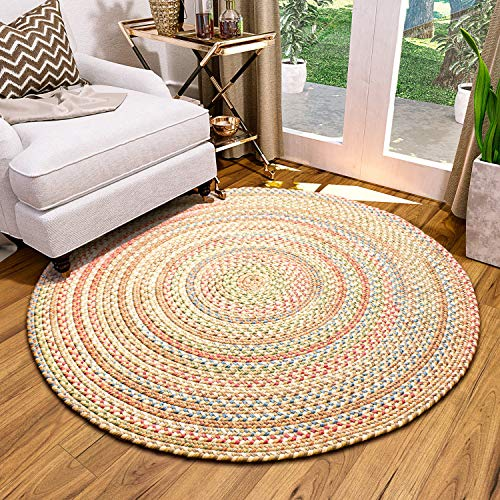 Super Area Rugs Roxbury Indoor Outdoor Braided Rug Straw/Natural Multi Colored RB59, 4' Round ()