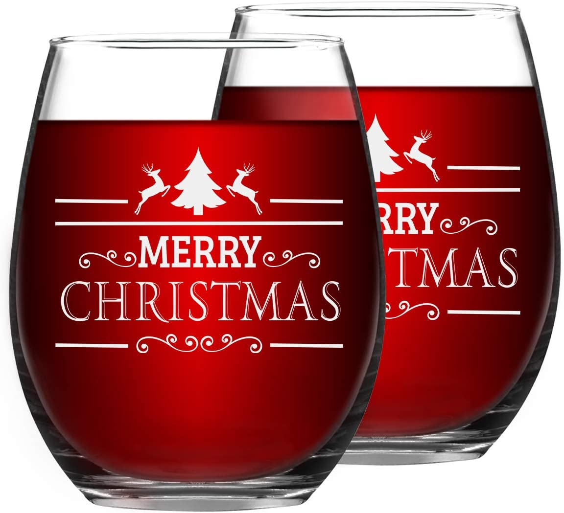 Set of 2 Christmas Wine Glasses Merry Christmas Stemless Wine Glasses Christmas New Year Gifts for Friends Women Christmas Decoration Wine Glasses for Christmas Party Couple Party Use 15Oz