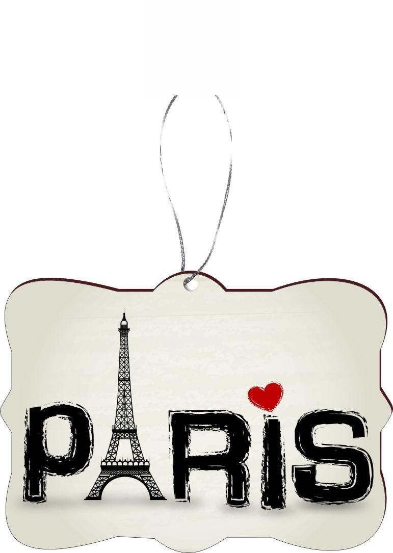 Rikki Knight RKWS-SQORN-43286 Christmas Tree Ornament / Car Rear View Mirror Hanger Paris Words with Eiffel Tower & Red Heart Design