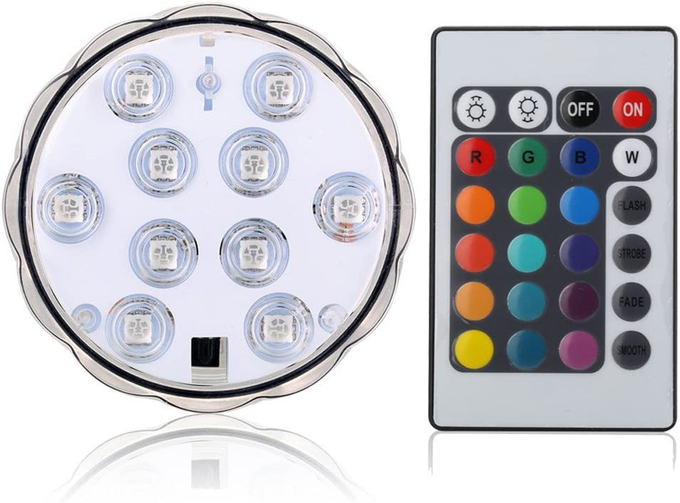 1-5x Submersible 10LED Waterproof Light RGB for Vase Wedding Party Fish Tank Dec