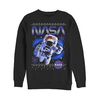 70749416 Fifth Sun NASA Men's Astronaut Ugly Christmas Sweater Print Black Sweatshirt