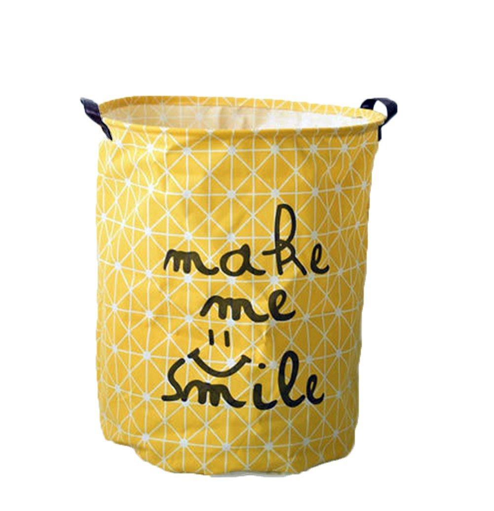 Westeng lona de almacenamiento de la cesta de la tela hogar de lavandería cubo juguetes organizador Cylindric bolsa de ropa (Amarillo)