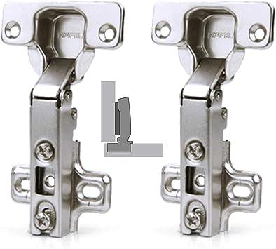 Semi Solapado Bisagras Autom/ática,Bisagra de puerta bisagra de armario de cocina,para Puerta de Empotrado Mueble Armario de Coci Juego (4 piezas)