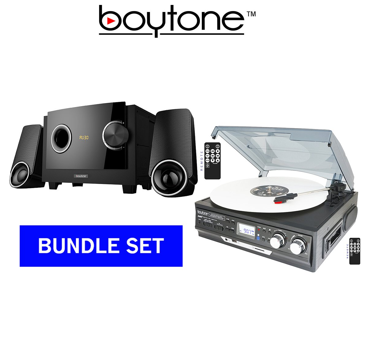 BOYTONE PREMUIM SOUND SYSTEM BUNDLE SET, Turntable Plus 2.1 multimedia Bluetooth speaker (BT-17DJB-C & BT-3129F) by Boytone
