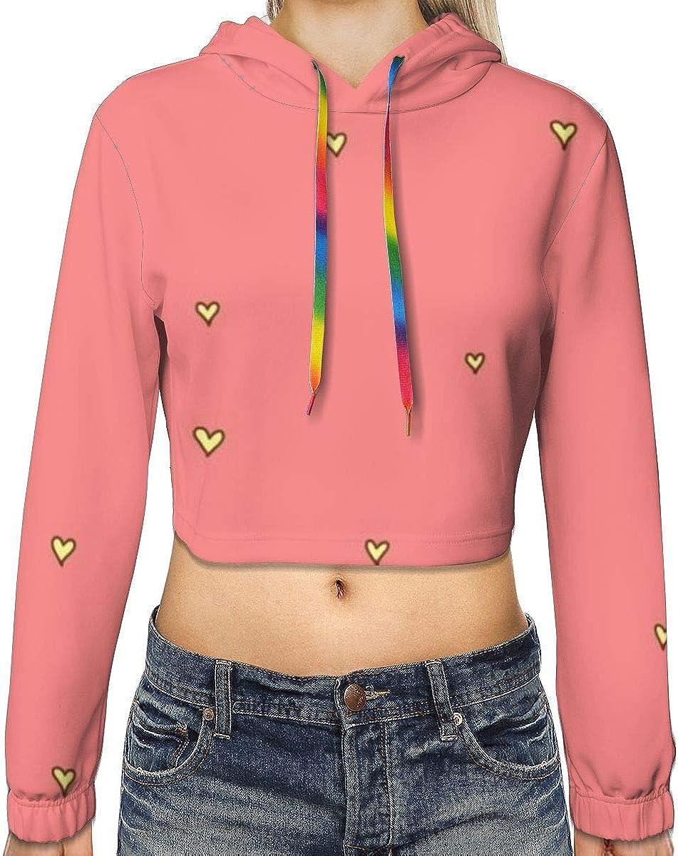 Yellow Love Womens Long Sleeve Letter Print Casual Sweatshirt Crop Top Hoodies