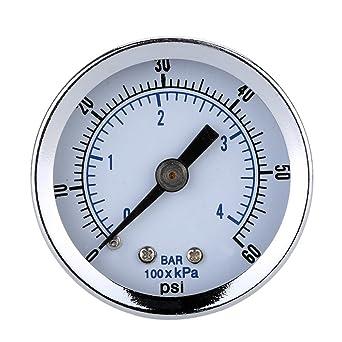 UEETEK Manómetro de vacío para compresor de aire Gas Oil Gas 0-60PSI