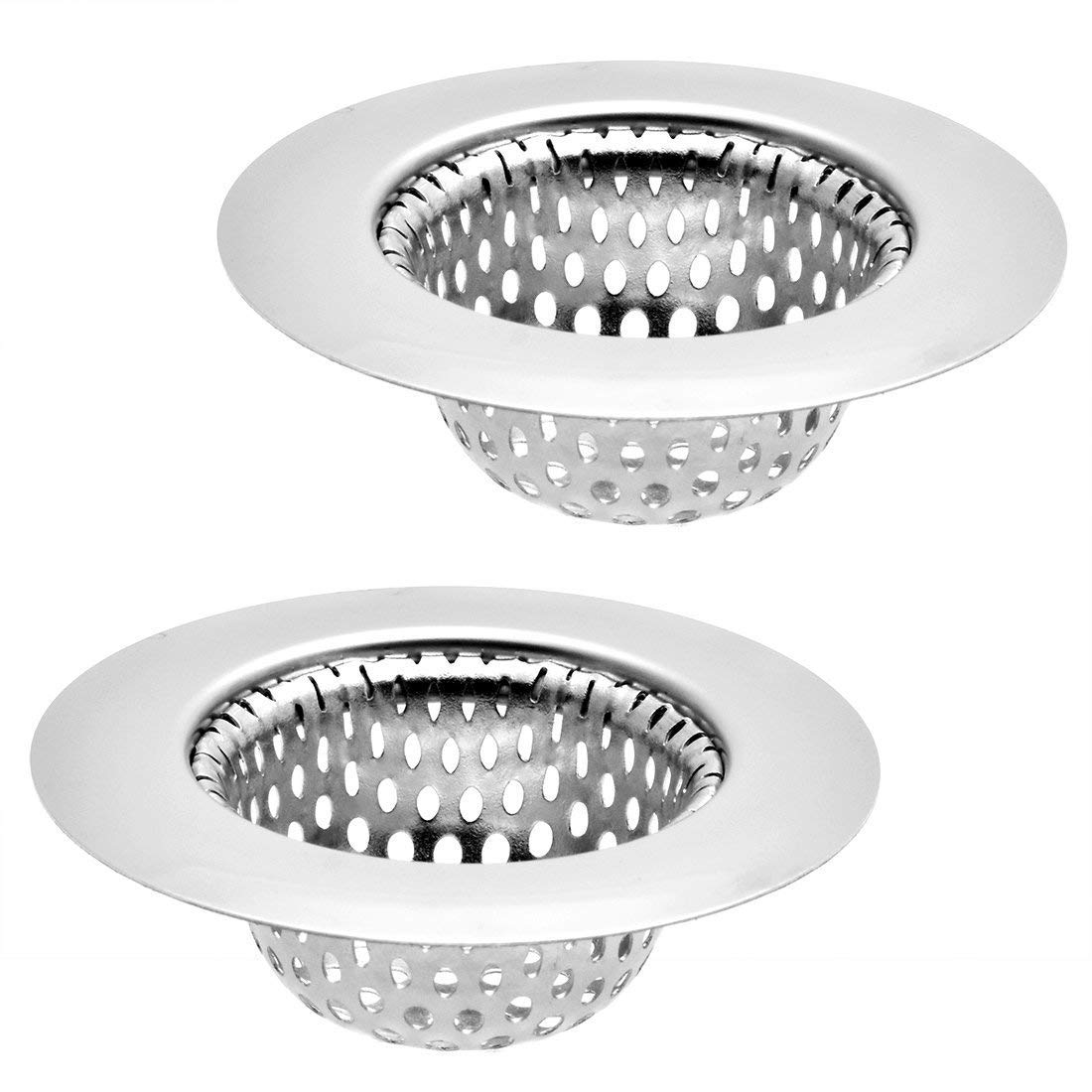 "2 Pack - 2.75"" Top / 1.5"" Basket, Stainless Steel Slop, Utility, Kitchen and Bathroom Sink Strainer. 1/8"" Holes."