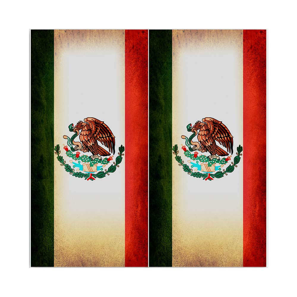 Decals N Designs Rustic Mexican Mexico Red White Green Eagle Laminated Country Cornhole Board Wraps ~ Set of 2