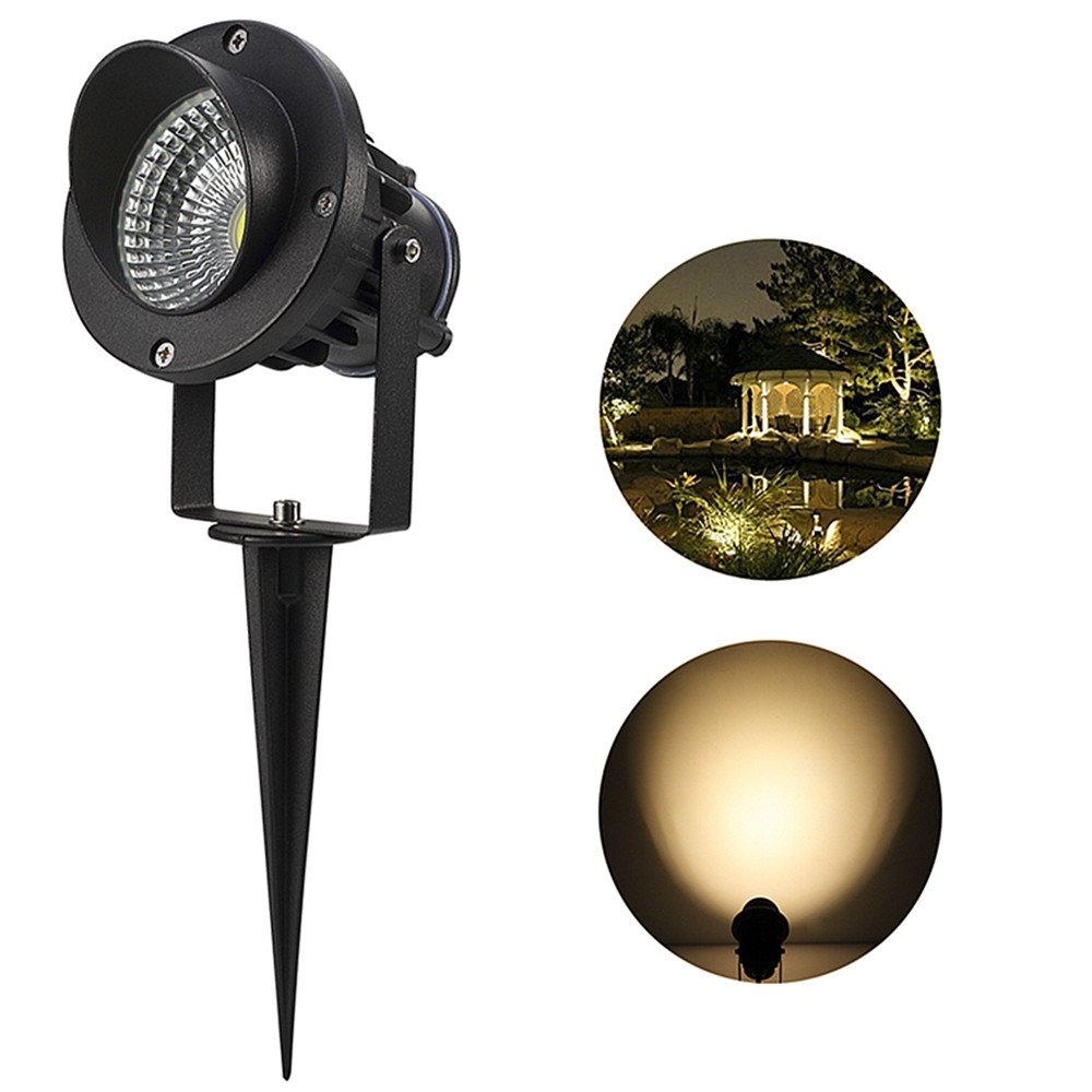 10W LED Outdoor Landscape Lights,GreenClick 3-in-1 COB Waterproof Landscape Spotlights Pathway Lights(Spiked Stand & Power Plug),Low Voltage Landscape Lighting for Garden/Tree/Wall/Walkway--Warm White