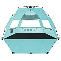 KOON Beach Tent Sun Shelter Pop Up - Easy Setup Beach Shade for 3-4 Person with UPF 50+ Protection, Extended Floor & 3…