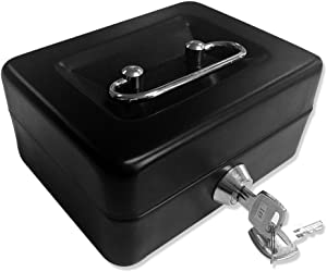 Jssmst Locking Small Steel Cash Box Without Money Tray,Lock Box,Black Small