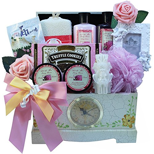 Victorian Lace Gourmet Food and Spa Gift Basket Set with Clock (Mother's Day Gift Baskets Sale)
