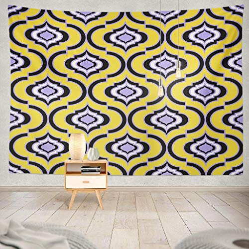 KJONG Damask Geometric Trellis Gold Screen Oriental Geo Damask Retro Abstract Decorative Tapestry,60X80 Inches Wall Hanging Tapestry for Bedroom Living Room