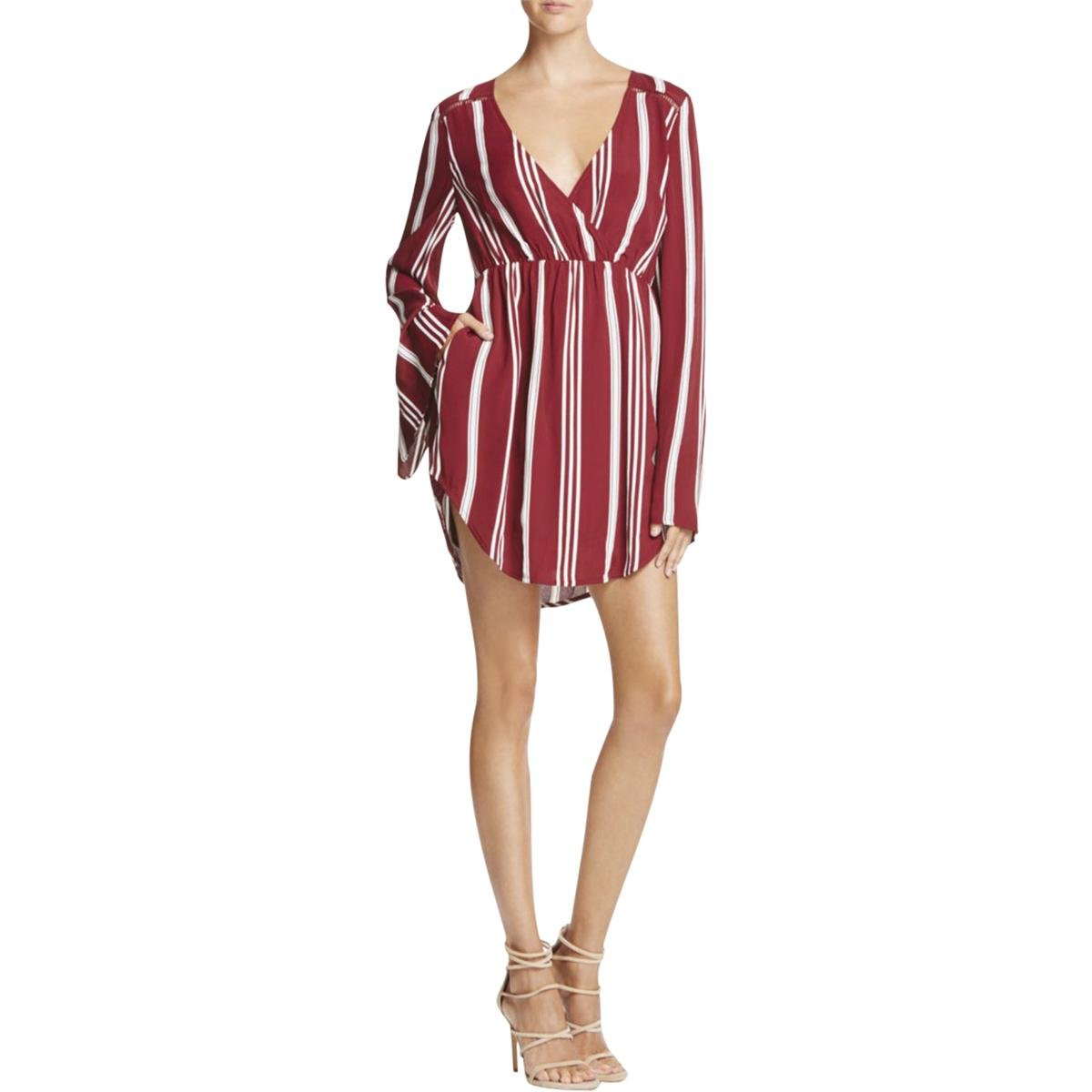 TJD Womens Striped Long Sleeves Tunic Top Red XS