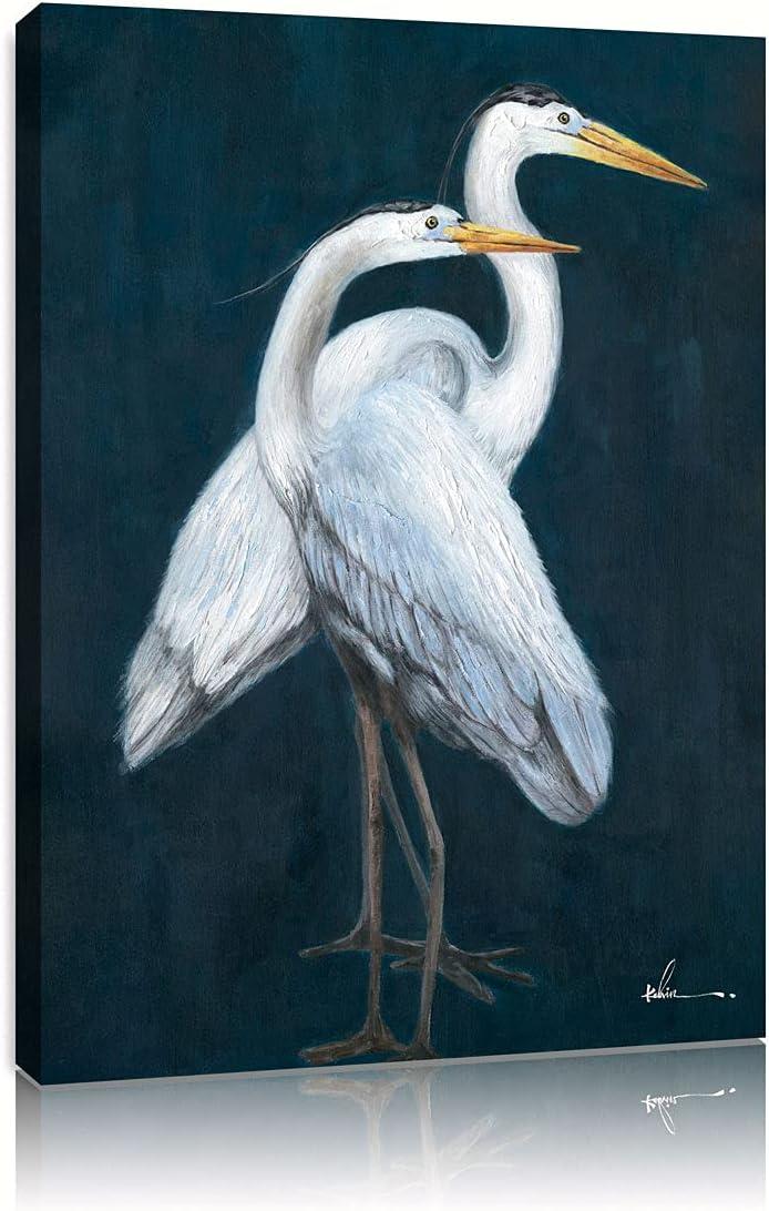 B BLINGBLING Coastal Heron Wall Art: White Heron Canvas Wall Art Blue Wall Decor Crane Sea Bird Framed Canvas Giclee Print Poster for Bedroom (24