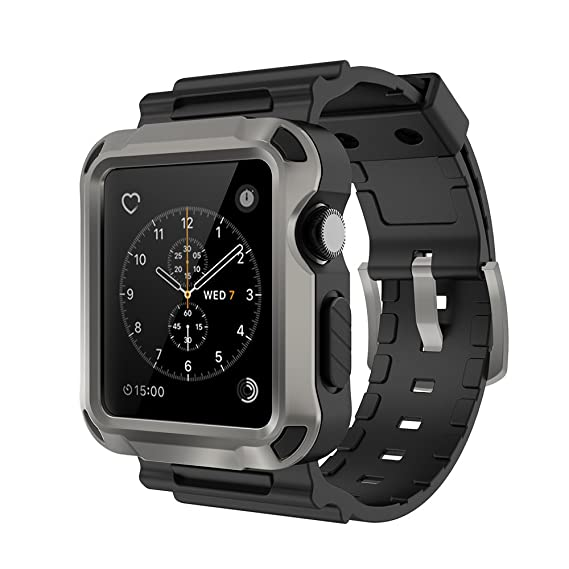 best authentic 4f614 e90fa Simpeak Band for Apple Watch 3, Grey Rugged Protective Case with Black  Strap Bands for Apple Watch 42mm Series 1 Series 2 Series 3