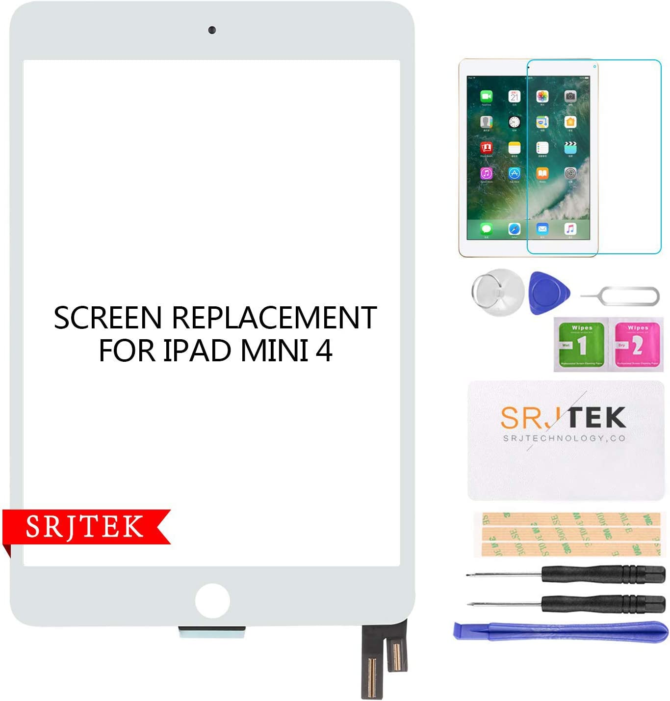 SRJTEK for iPad Mini 4 Screen Replacement Touch Digitizer Glass Touchscreen Repair Parts Assembly Kits, with Tempered Glass Protector(LCD not Include) White