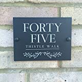 Modern House Sign Personalised For Your Door and Home | Unique Matt black or white acrylic perspex address yard street plaque | Beautiful traditional...