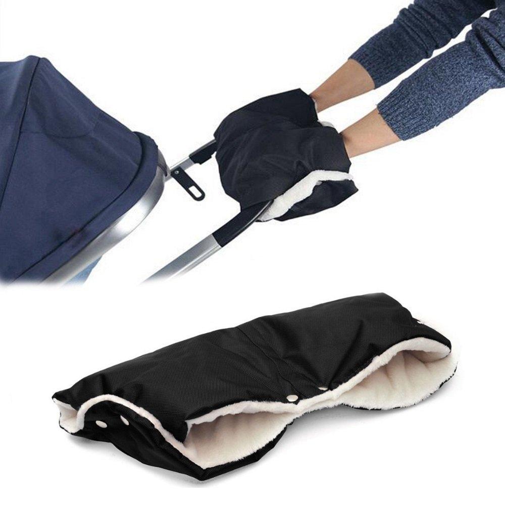 SelfTek Kids Baby Pushchair Pram Stroller Hand Muff Hand Warmer Waterproof Gloves (Black)