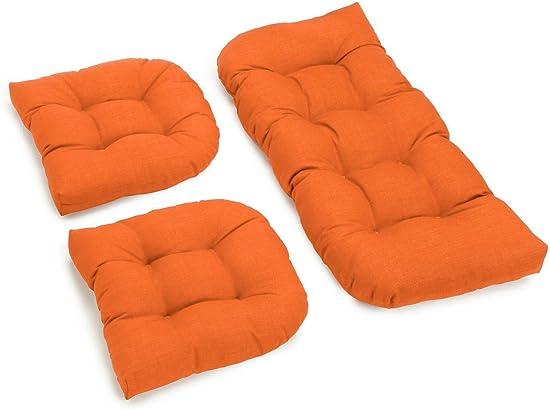 Blazing Needles U-Shaped Solid Spun Polyester Tufted Settee Cushion Set