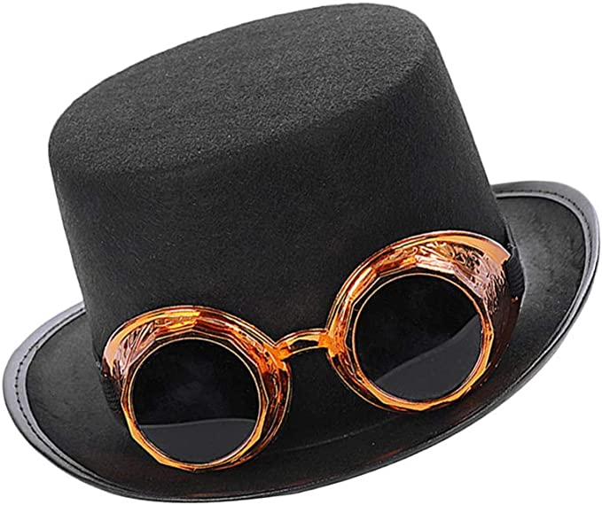Mens Steampunk Top Hat Goggles Victorian Inventor Carnival Fancy Dress Accessory