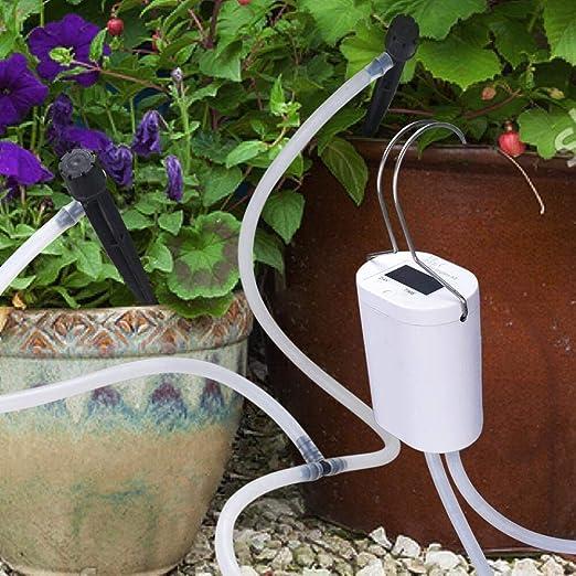 Sistema de riego de DINOKA DIY, para vacaciones, con manguera de 8 pies para bancales, terrazas, jardines o plantas de maceta, Blanco: Amazon.es: Jardín