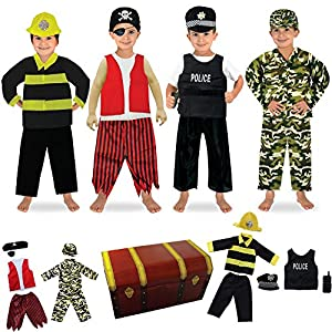 fedio 14PCS Boys Role Play Dress up Trunk Costume Set for Children (Pirate, Policeman, Fireman, Soldier) - 61D 2B9uErttL - 14PCS Boys Role Play Dress up Trunk Costume Set for Children (Pirate, Policeman, Fireman, Soldier)