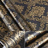 BESTERY Black Gold Damask Contact Paper Shelf Liner Peel & Stick Dresser Drawer Sticker Home Deco Wallpaper 24inch by 118inch