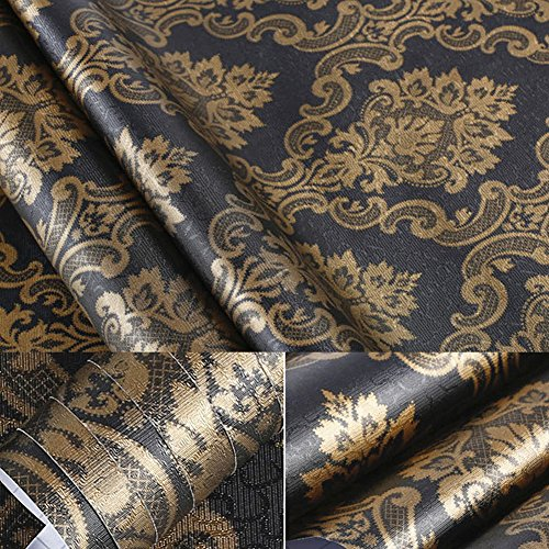 BESTERY Black Gold Damask Contact Paper Shelf Liner Peel & Stick Dresser Drawer Sticker Home Deco Wallpaper 24inch by 100inch